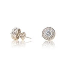 Load image into Gallery viewer, Sterling Silver Cubic zirconia round brilliant halo stud earrings
