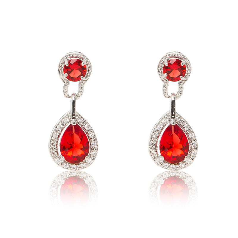 Dazzling rhodium plated earrings with centre stones of red cubic zirconia framed by clear cubic zirconia stones.