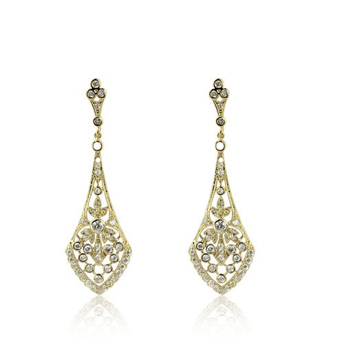 18ct gold plated filigree drop evening earrings with round brilliant cubic zirconia stones