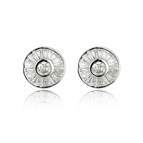 Rhodium plated round baguette cut halo with a brilliant cut cubic zirconia centre stud earrings.