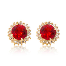 Load image into Gallery viewer, Delicate 18ct yellow gold plated plated studs with a red centre surrounded by a halo of cubic zirconia stones. For pierced ears.