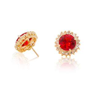 Delicate 18ct yellow gold plated plated studs with a red centre surrounded by a halo of cubic zirconia stones. For pierced ears. Side view (Butterfly and pole closure)