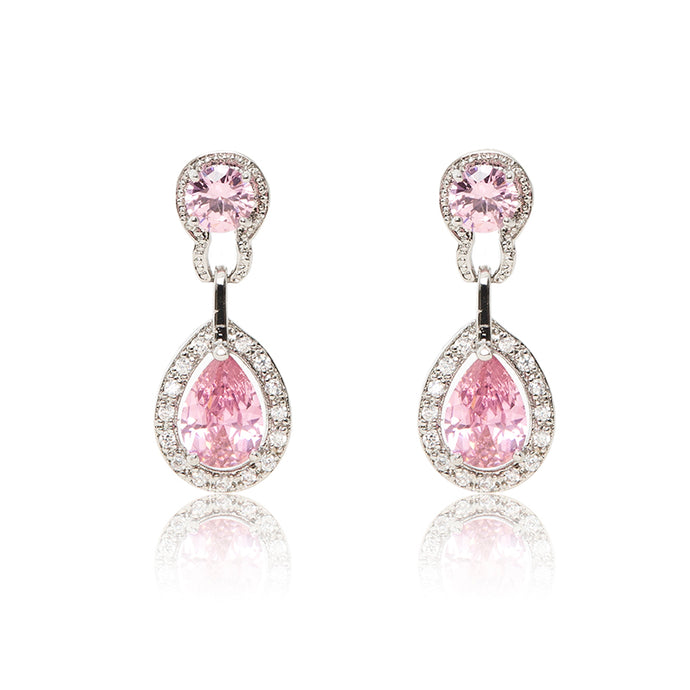 Dazzling rhodium plated earrings with centre stones of pink cubic zirconia framed by clear cubic zirconia stones.