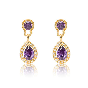 Dazzling 18ct yellow gold plated earrings with centre stones of purple cubic zirconia framed by clear cubic zirconia stones.