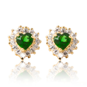A beautiful tribute to the heart. Delicate 18ct yellow gold plated studs with clear cubic zirconia stones framing a subtle green heart at the centre.