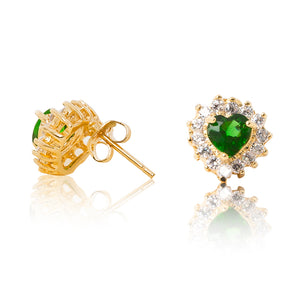 A beautiful tribute to the heart. Delicate 18ct yellow gold plated studs with cubic zirconia stones framing a subtle green heart at the centre. Side view (Butterfly and pole closure)