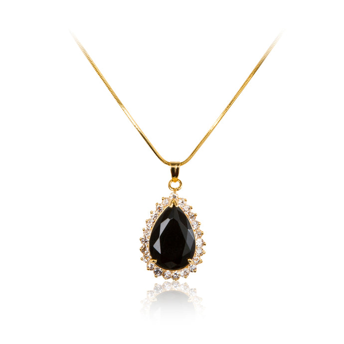 18ct Gold plated, black cubic zirconia pear cut centre stone with a clear cubic zirconia stone halo pendant and chain.