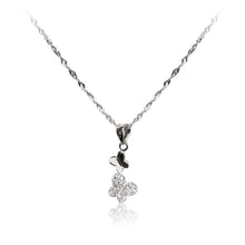 Load image into Gallery viewer, A pair of dainty, playful butterflies in 925 sterling silver pendant with pavé set cubic zirconia and chain.