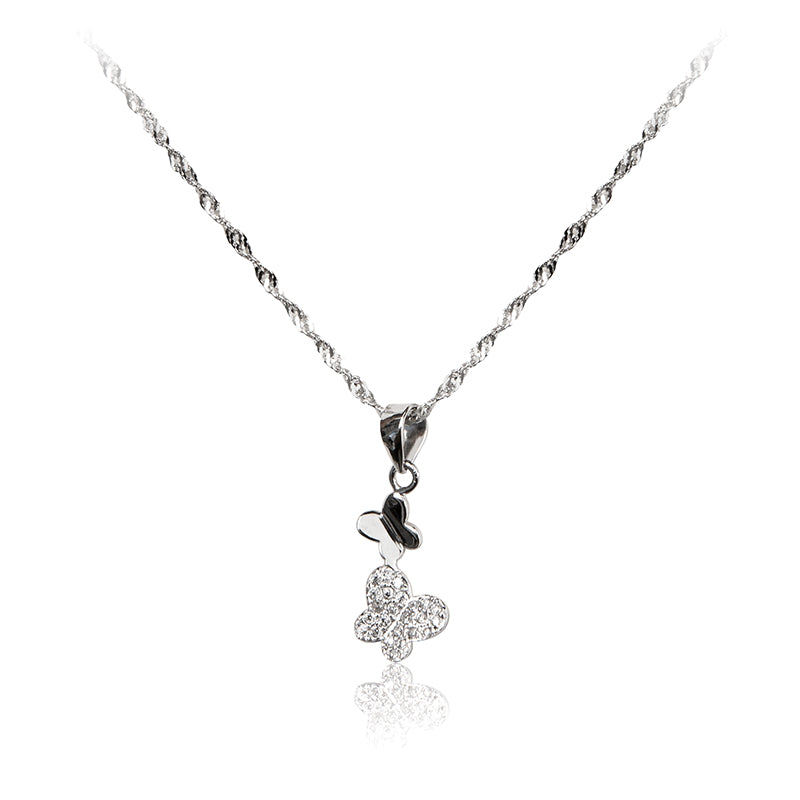 A pair of dainty, playful butterflies in 925 sterling silver pendant with pavé set cubic zirconia and chain.