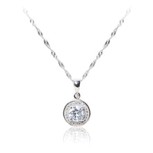 Load image into Gallery viewer, Round brilliant cut, pavé set halo 925 sterling silver pendant and chain.