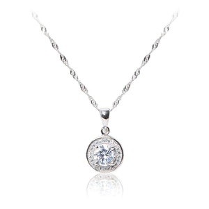 Round brilliant cut, pavé set halo 925 sterling silver pendant and chain.