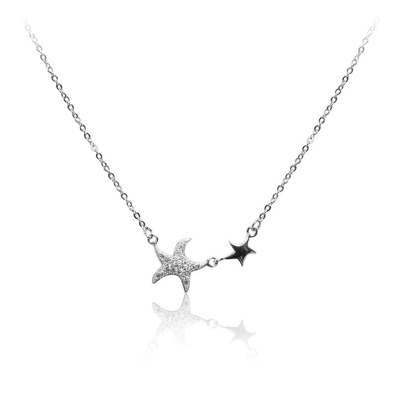 An eye-catching 925 sterling silver necklace featuring a pair of sparkling star fish.