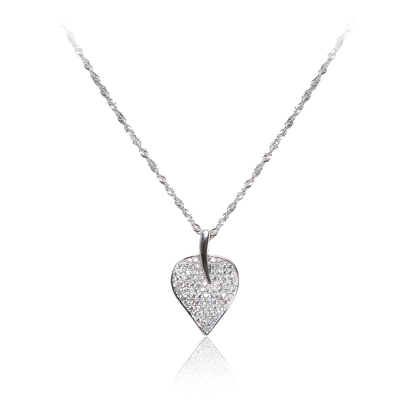 A skilfully crafted leaf 925 sterling silver pendant and chain, highlighted with twinkling pavé set cubic zirconia stones.