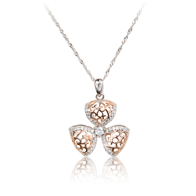 A three petal 925 sterling silver and rose gold plated filigree flower and chain.