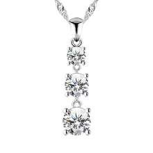 Load image into Gallery viewer, A simple but stunning three tiered round brilliant cubic zirconia drop necklace in 925 sterling silver