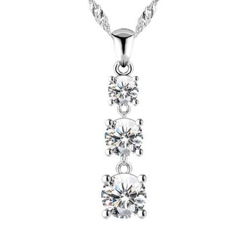A simple but stunning three tiered round brilliant cubic zirconia drop necklace in 925 sterling silver