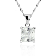 Load image into Gallery viewer, A pretty princess cut cubic zirconia pendant in 925 sterling silver