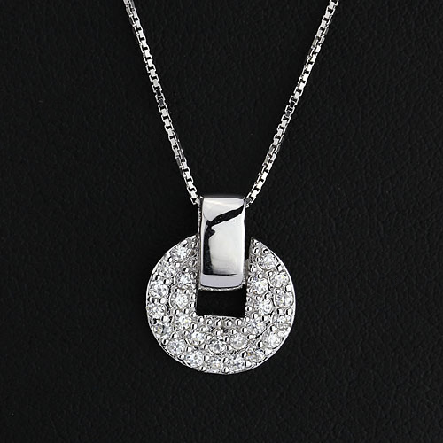 This glittering disc pendant offers even more sparkle with a double disc pendant. Necklace