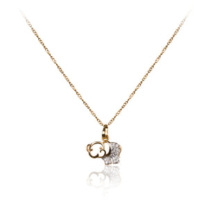 A dainty 18ct yellow gold plated cubic zirconia encrusted elephant pendant and chain.