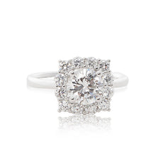 Load image into Gallery viewer, A graceful 925 sterling silver crown halo ring with a round brilliant cubic zirconia centre stone. Front view