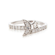 Load image into Gallery viewer, A charming 925 sterling silver moon and star ring encrusted in brilliant cut cubic zirconia stones and diamond-look shoulders.
