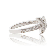 Load image into Gallery viewer, A charming 925 sterling silver moon and star ring encrusted in brilliant cut cubic zirconia stones and diamond-look shoulders. Side view half eternity