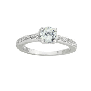 A dazzling 925 sterling silver round brilliant claw set CZ solitaire engagement ring style CZ half band ring.