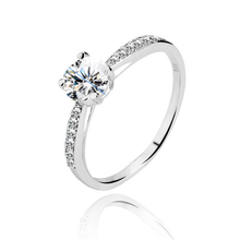 Load image into Gallery viewer, A dazzling 925 sterling silver round brilliant claw set CZ solitaire engagement ring style CZ half band ring.