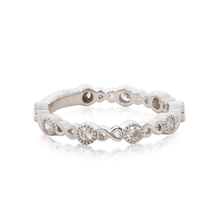 A timeless infinity platinum finished micro inlay full eternity ring.