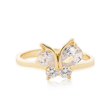 Load image into Gallery viewer, Gold plated Cubic zirconia butterfly ring