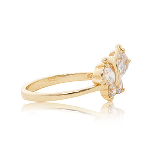 Gold plated Cubic zirconia butterfly ring