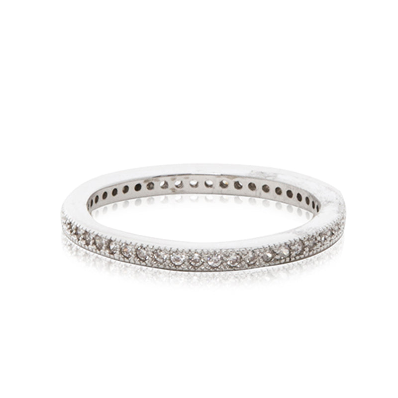 A timeless platinum finished micro inlay full eternity ring.