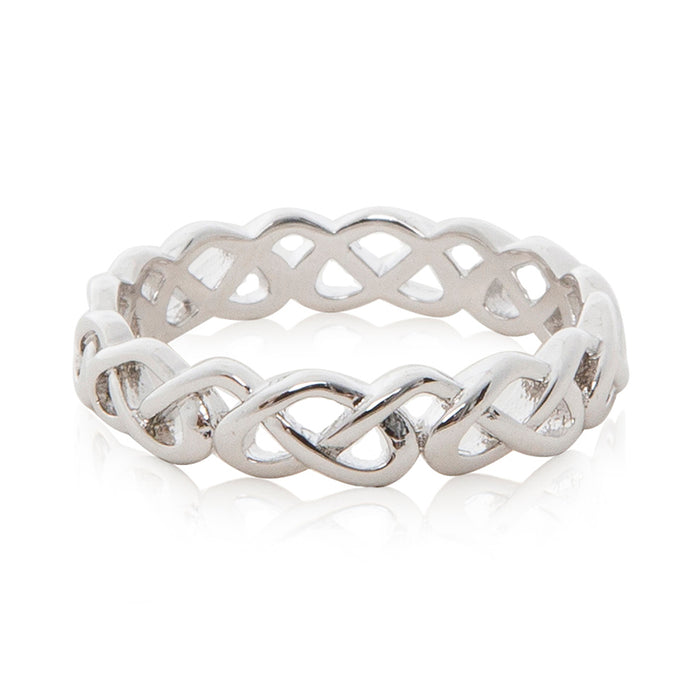 A simple yet elegant rhodium plated entwined looped ring.