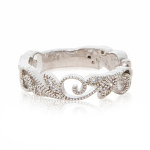 Load image into Gallery viewer, Rhodium plated filigree beaded ring band in silver colour