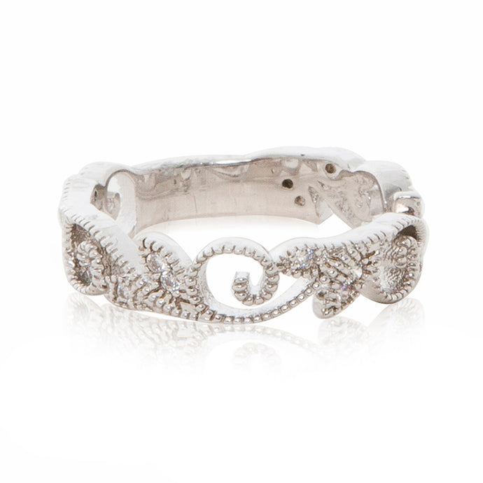 Rhodium plated filigree beaded ring band in silver colour