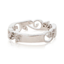 Load image into Gallery viewer, Rhodium plated filigree beaded ring band in silver colour resizing plated back view