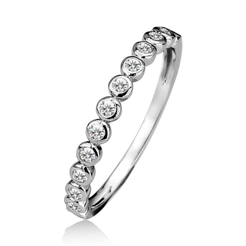 A stunning half eternity band with the detailing of rub over set round brilliant cubic zirconia stones.