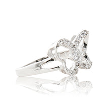 Load image into Gallery viewer, A beautiful 925 sterling silver butterfly ring encrusted in cubic zirconia stones. Side view (Butterfly and pole closure)