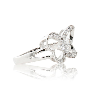 A beautiful 925 sterling silver butterfly ring encrusted in cubic zirconia stones. Side view (Butterfly and pole closure)