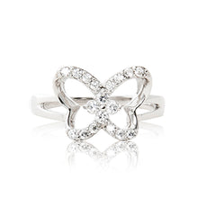 Load image into Gallery viewer, A beautiful 925 sterling silver butterfly ring encrusted in cubic zirconia stones.