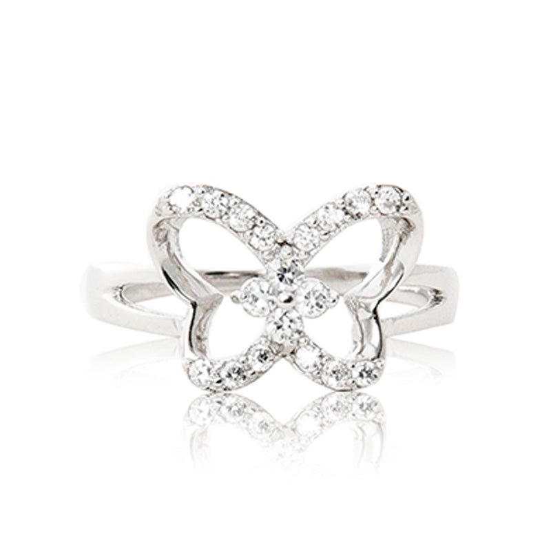 A beautiful 925 sterling silver butterfly ring encrusted in cubic zirconia stones.