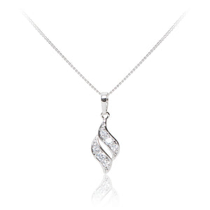 A 925 sterling silver twist like pendant and earrings set. Necklace