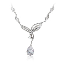 Load image into Gallery viewer, A beautiful statement platinum finished pear drop earrings and necklace set. Evening necklace