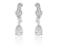 Load image into Gallery viewer, A beautiful statement platinum finished pear drop earrings and necklace set. For pierced ears. Ideal for a special occasion evening wear earrings