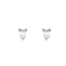 Load image into Gallery viewer, An elegant pair of stud faux pearl earrings finished with rhodium plating and cubic zirconia encrusted bows.