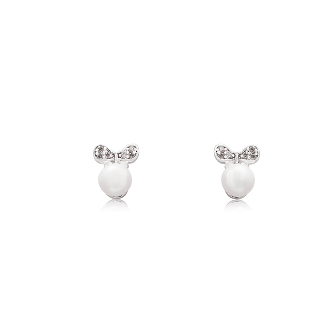 An elegant pair of stud faux pearl earrings finished with rhodium plating and cubic zirconia encrusted bows.