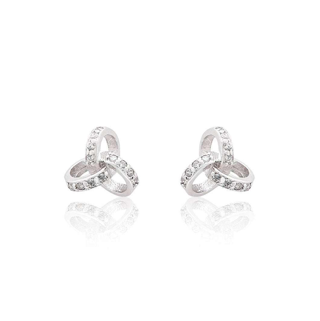 An elegant pair of 925 sterling silver stud earrings with a unique twist detail.