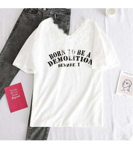 Sexy Lace Patchwork t shirt Halajuku Loose Casual Irregular Short Sleeve Female T-shirts black white top