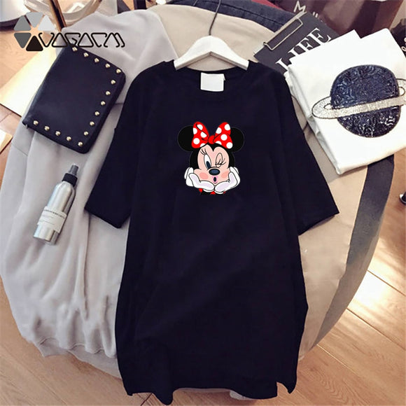 Dress 2020 Summer Women Dresses Minnie Cartoon Print Casual Loose Black White Mini Women Clothing Big Size Dress Femme