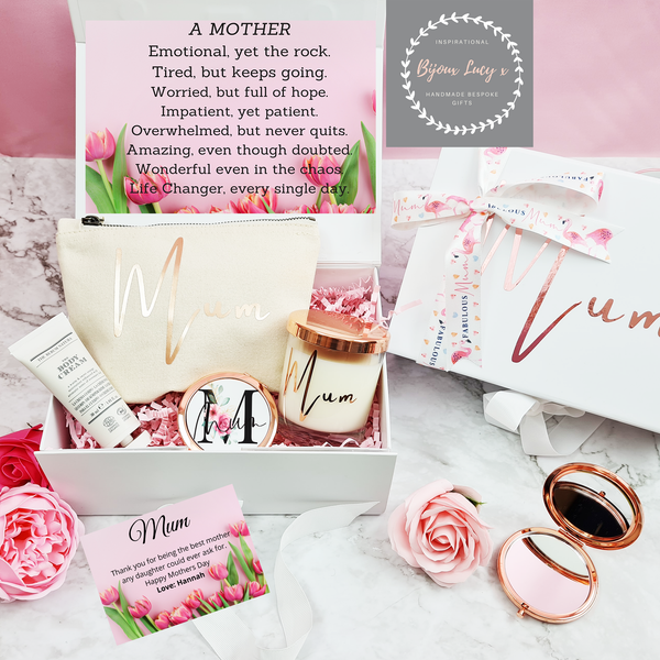Luxury Personalised Mothers Day Gift with Rose Gold Compact Mirror